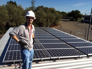 Steve Geiger with solar array