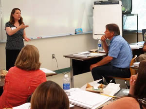 Susie Calkins, Northwestern University, conducts professional development for Sierra College and high school faculty.