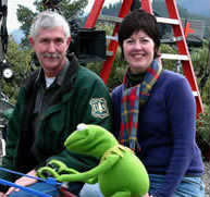 Beverly Lewis with Kermit the Frog and a US Park Ranger