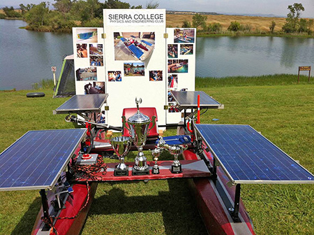 Solar boat with trophies