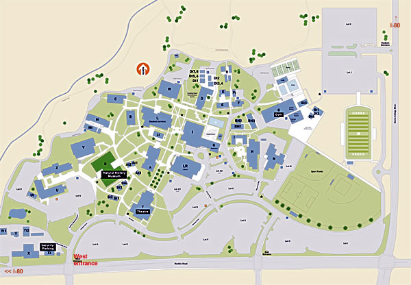 Rocklin Campus map. Red building is the Museum.