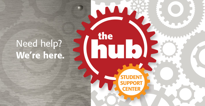 Slide: The Hub is now in the upper A Bldg., Rocklin Campus