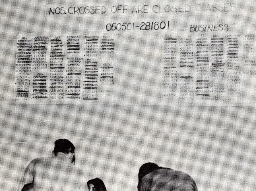 Registration process at Sierra College in 1960s