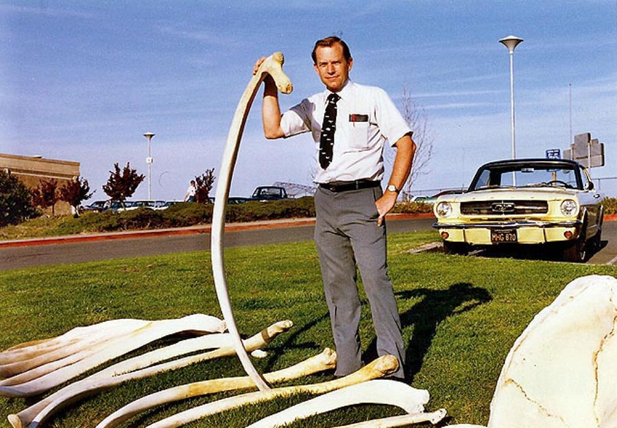 Charles Dailey holding a whale bone