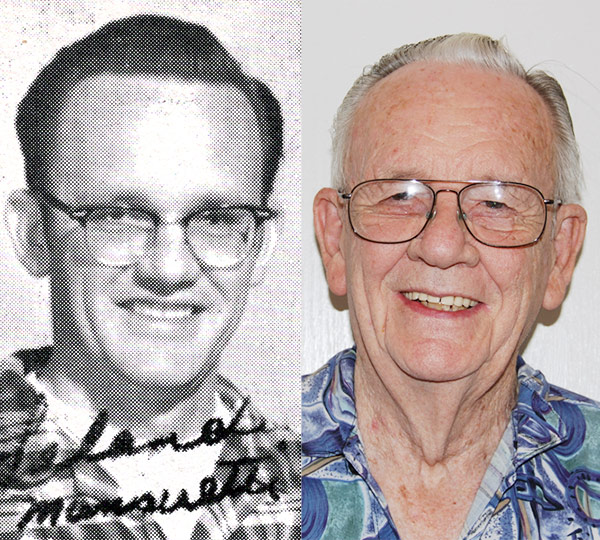 Leland from the year book in 1963 on the left, and Leland in 2016 on the right.