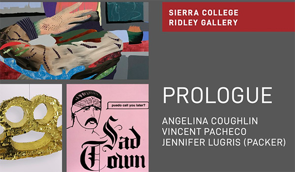 Prologue flyer showing art of Angelina Coughlin, Vincent Pacheco and Jennifer Lugris (Packer)