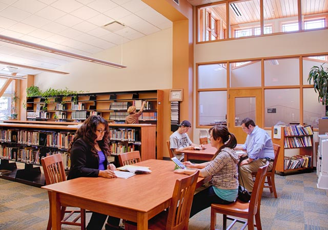 Students studying in the sunny Tahoe-Truckee library
