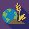 earth and environment interest area icon of globe and plant growing out of earth