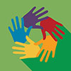 people, culture and society interest area icon of hands in different colors