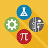 science, technology, engineering and math interest area icon of pi sign, lab tool, mechanical wheel and technology network