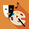 visual and performing area interest area icon of theater mask, paint palette and music