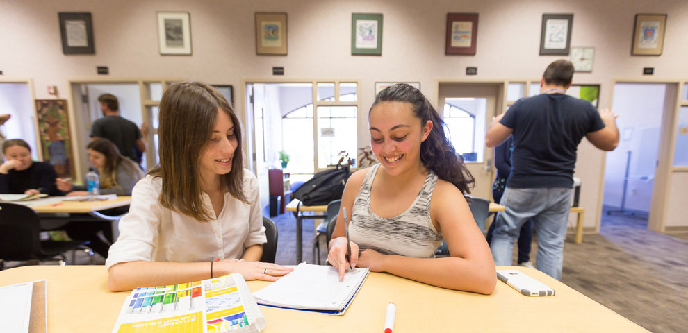 A student and tutor working hard at the Rocklin Tutor Center